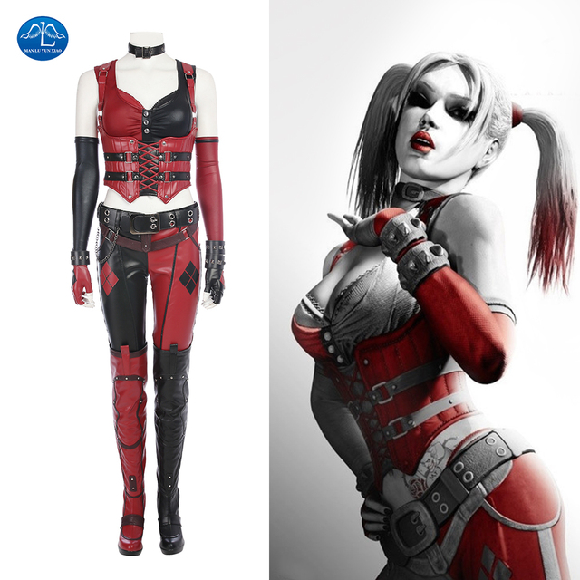 b80ca0e29e3b MANLUYUNXIAO Batman Arkham Knight Harley Quinn Costume Deluxe Outfit  Halloween Carnival Cosplay Costumes for Women Custom Made
