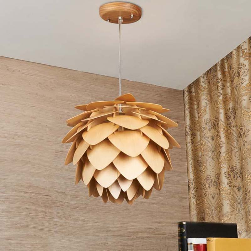 New Pinecone Pendant Lights Nordic Wood Wooden Home Living Room Dining Room Cafe Restaurant Lighting Pendant Light