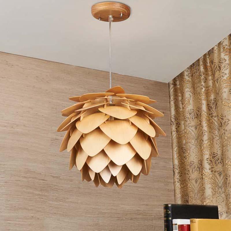 Nuevo Pinecone Lámparas colgantes nórdico madera casa salón comedor ...