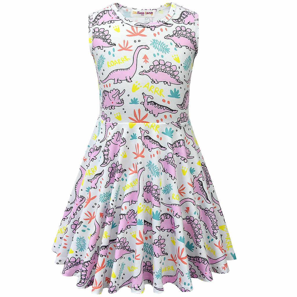 CHAMSGEND/высококачественное хлопковое платье для маленьких девочек; Повседневное платье с принтом динозавра и буквами; одежда; 19MAR20 P40
