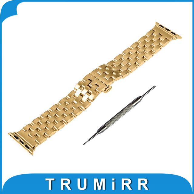 Aço inoxidável pulseira banda alça de pulso para 38mm 42mm apple iwatch relógio/relógio do Esporte/Edição com Adaptador & todos os Links Removível