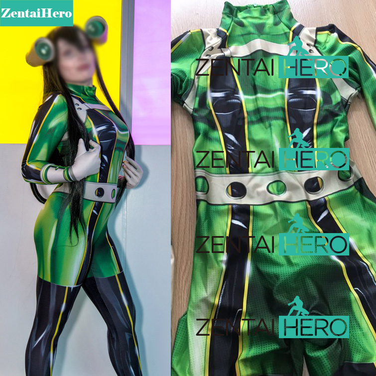 3D Printed Boku no Hero Academia Froppy Cosplay Costumes Pro Hero Tsuyu Asui My Hero Academia Zentai Catsuits, Only Bodysuit