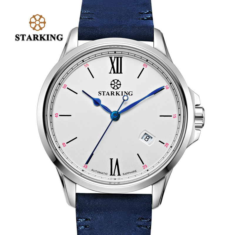 STARKING Mechanical &Automatic Watches Men Stainless Steel 50m Water Resistant Auto Date Leather Relogio Masculino Sport 2018 starking men black watches shock resistant stainless steel auto mechanical business male watch leather band waterproof relogio