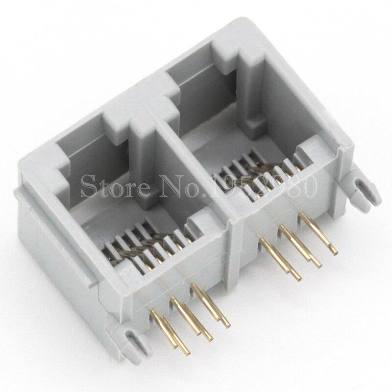 20pcs/lot Phone Jack Socket 6P4C*2 RJ11 RJ12 female Conjoined Socket