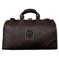 Коровьей дорожная сумка Винтаж Чемодан Путешествия Duffle Сумки Для мужчин кожаный саквояж Высокое качество 18 Большой Ёмкость Duffels