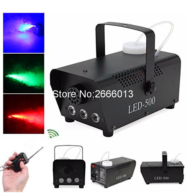 Niugul RGB Wireless Remote Control LED 500W Fog Machine Pump DJ Disco Smoke Machine 500W Fog Machine Xmas Home Party LED Fogger niugul 1500w fog machine smoke machine stage mist effect 110v 240v remote wire control for disco dj party spray up fogger maker