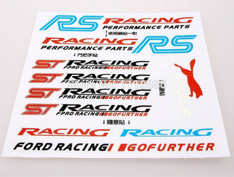 10 x Newest 3D RS Racing ST Racing Car Styling Decal Decoration Stickers Decal for Ford Focus ST Focus RS Fiesta ST