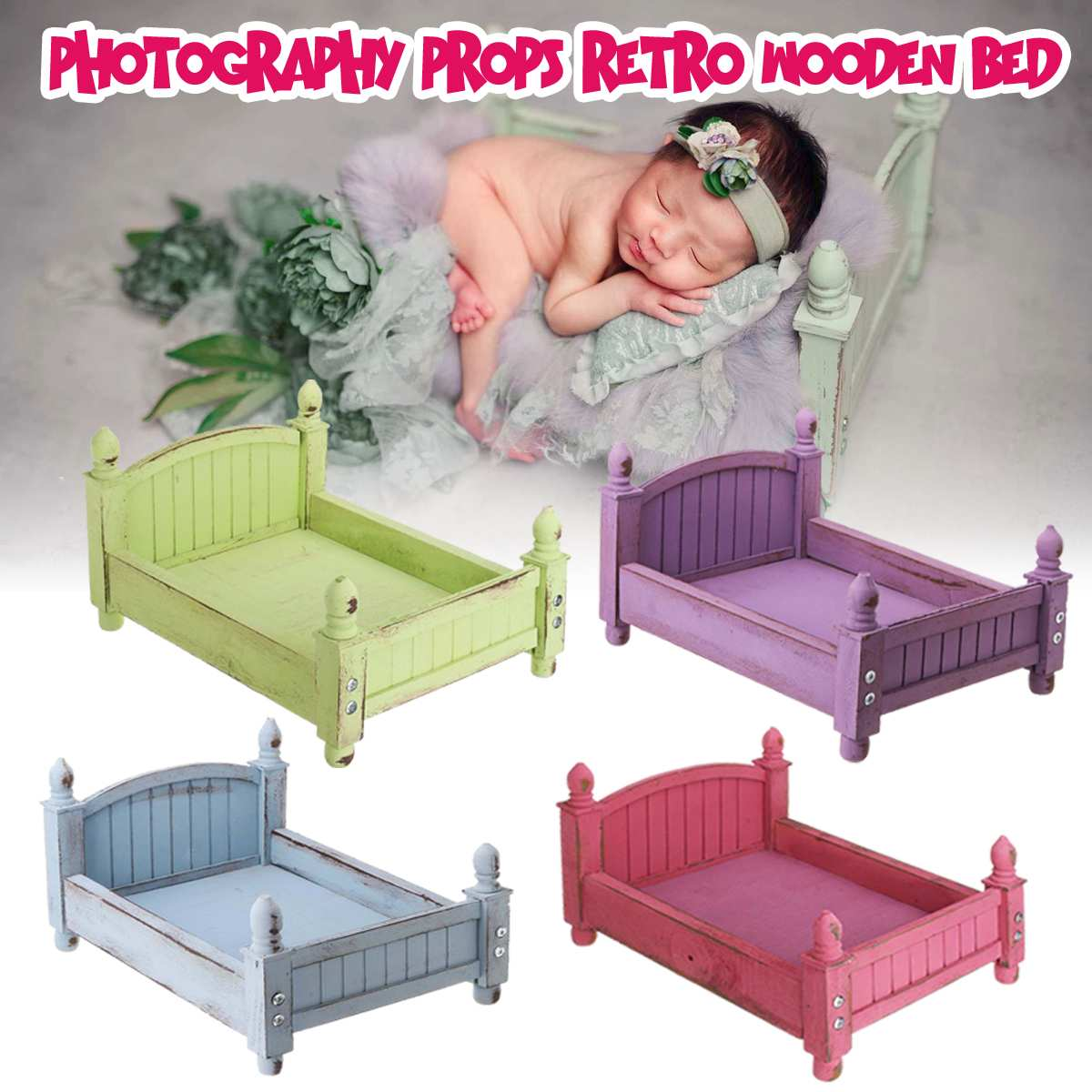 Bioby 4 Colors Bed Baby Studio Photography Background Cribs Newborn Photography Shoot Props Retro Wooden Photo Shoot Posing Sofa