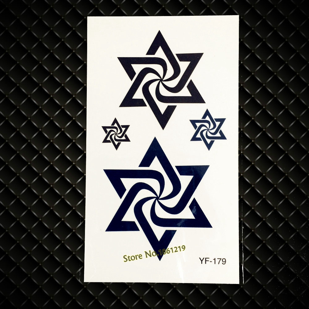 Nontoxic DIY Waterproof Fake Tattoo Black Star Of David Design Men Women Body Leg Art Temporary Tattoo Sticker Arm Decals GYF179