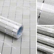 Водостойкая самоклеящаяся настенная бумага в клетку для ванной и кухни, водонепроницаемые наклейки из фольги, антимасляная пленка, наклейки на стену для плитки, Новое поступление