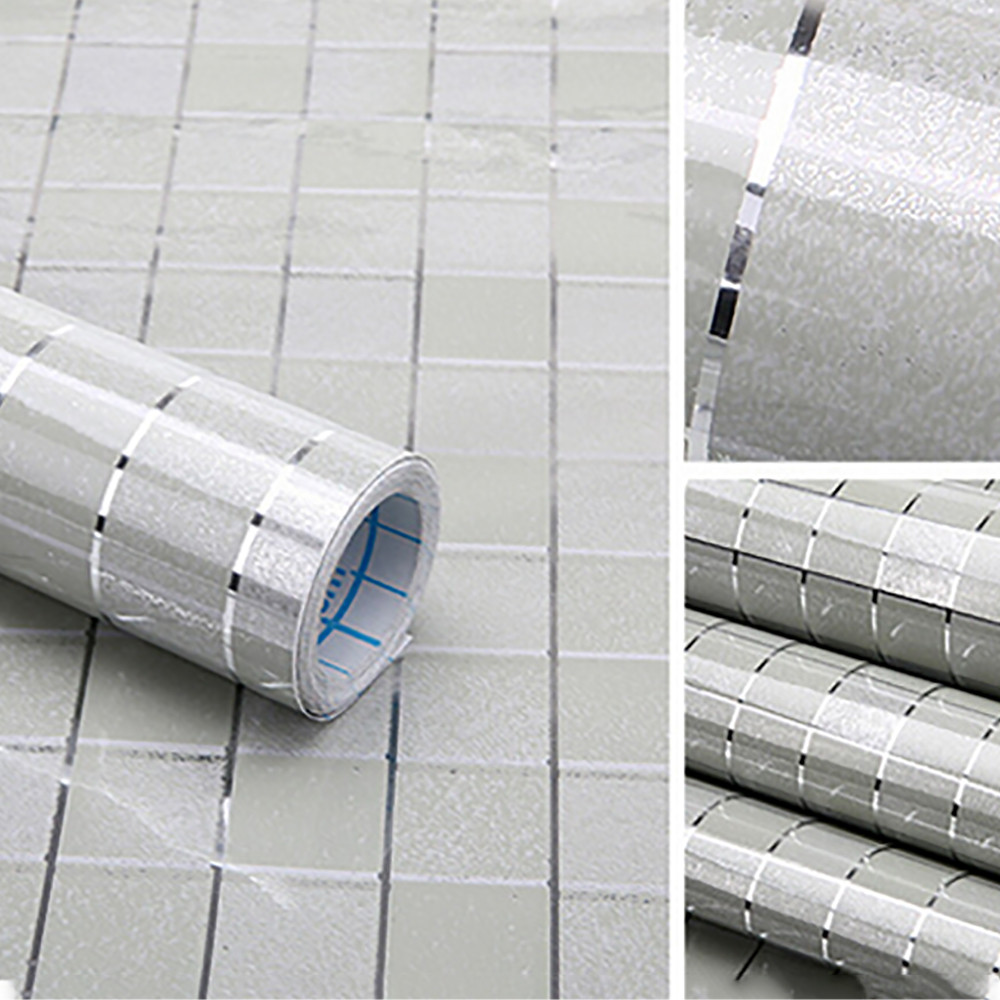 Bathroom Kitchen Waterproof Self-adhesive plaid Wall paper Waterproof Foil Stickers Anti-oil Wrap Tile Wall Stickers New arrival(China)