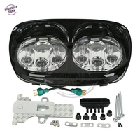 5.75'' Black Motorcycle LED Headlight Projector Light Lamp Assembly Kit Case for Harley Road Glide 1998 2013