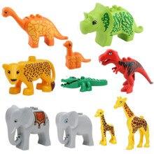 Duplos Animal Model Figures Big Building Block Sets Elephant Lion Dinosaur Ocean world font b toys