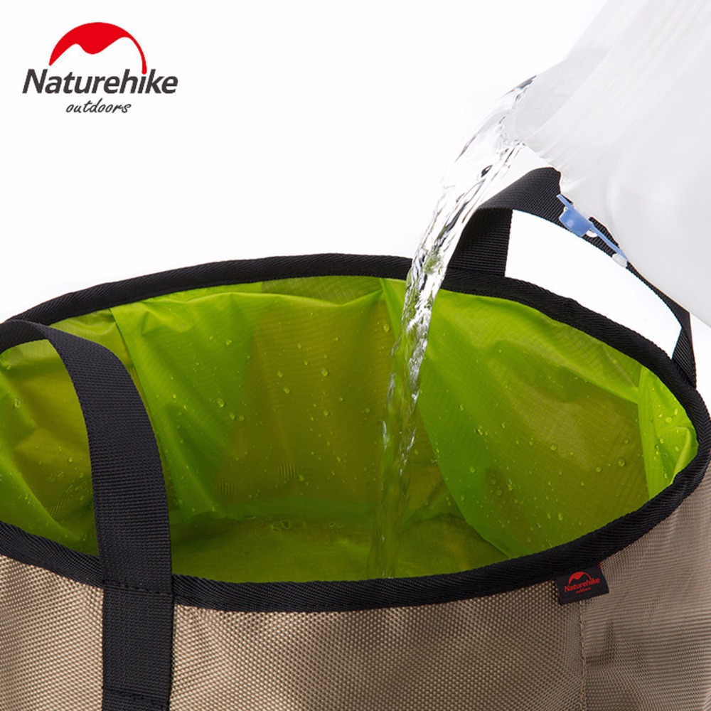 Image 2 - NatureHike Outdoor EDC Portable 10L Foldable Water Washbasin Ultralight Camping Basin Survival Water Bucket Foot Bath 3 Colors-in Water Bags from Sports & Entertainment