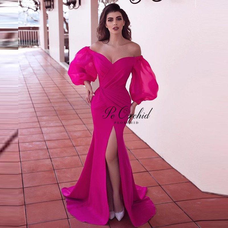 PEORCHID Dubai Design Long Sleeves   Evening     Dress   Mermaid Fushcia Off The Shoulder Simple 2019 Sexy Split Formal Gown Long Prom