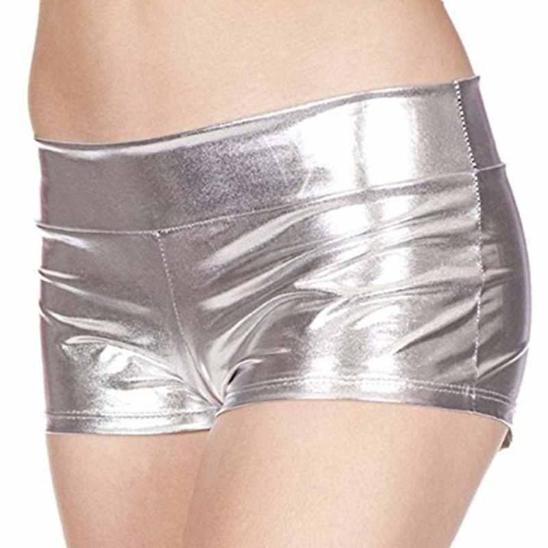 Sukienka do klubu Sexy szorty damskie letnie krótkie niskiej talii płaski kąt Booty krótki złoty srebrny czarny fioletowy niebieski różowy skóra PU spodenki