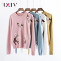 RZIV 2016 autumn and winter women leisure crane embroidery knitted sweater