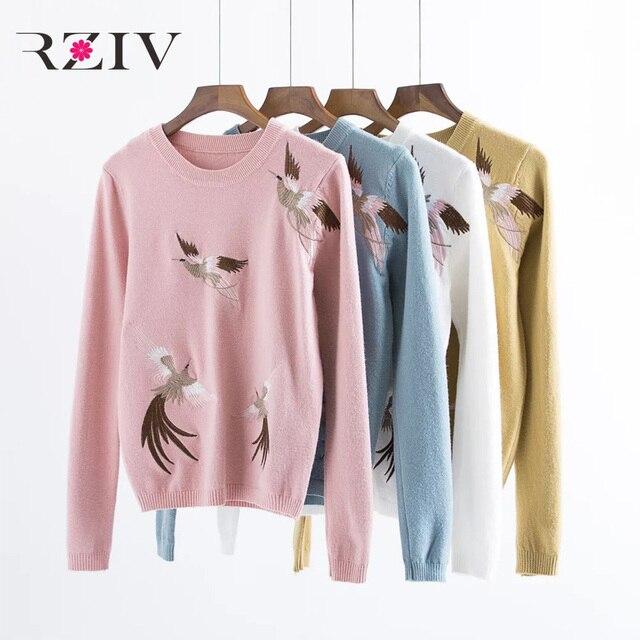RZIV 2016 outono e inverno as mulheres lazer guindaste bordado camisola de malha
