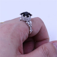 Choucong Punk Skull Ring For Women Men AAA Zircon Cz Crystal Stainless Steel Lovers Party Wedding
