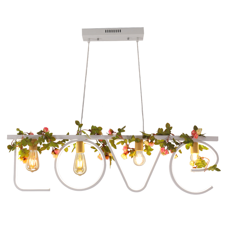 KINLAMS moderne lettre d'amour lustre blanc noir fer plantes suspendus lumière Style champêtre lampe pour salon chez l'habitant