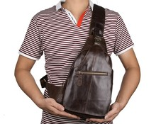New Excellent Leather  Mens Classic Style Large Capacity Chest Bag Top Quality Messenger Vintage Cross Body 2467C
