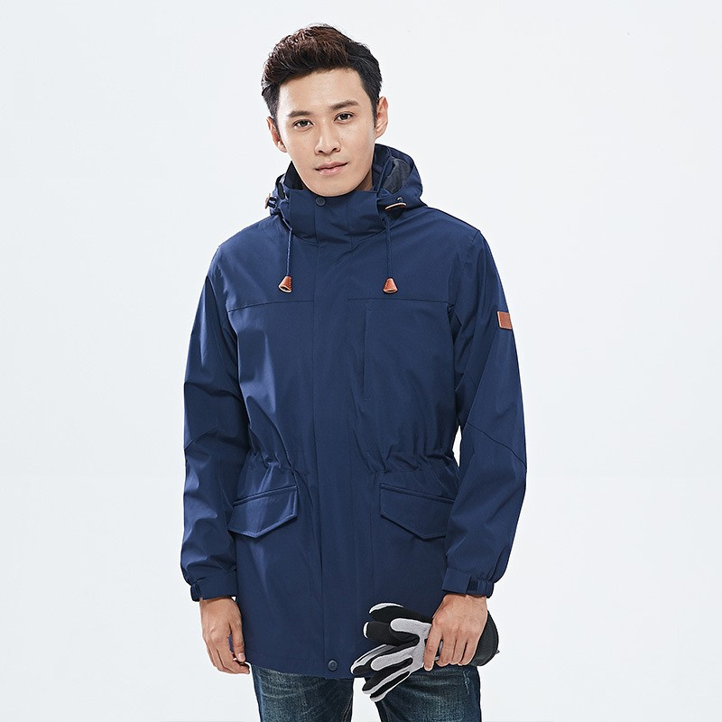Autumn and winter men's outdoor 3 in 1 medium long two-piece windbreaker jacket male windproof warm Camping Hiking ski coat