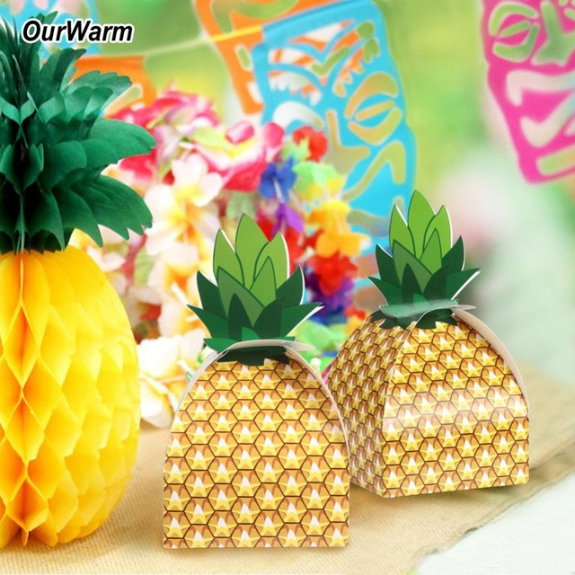Ourwarm 60pcs Pineapple Party Candy Boxes Hawaiian Luau Theme Party