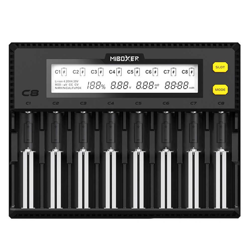 MiBOXER C81.5A 8 خليج LCD شاحن بطارية ل 18650 ليثيوم أيون LiFePO4 متولى حسن ني المضغوط AA 21700 20700 26650 18350 17670 RCR123 18700