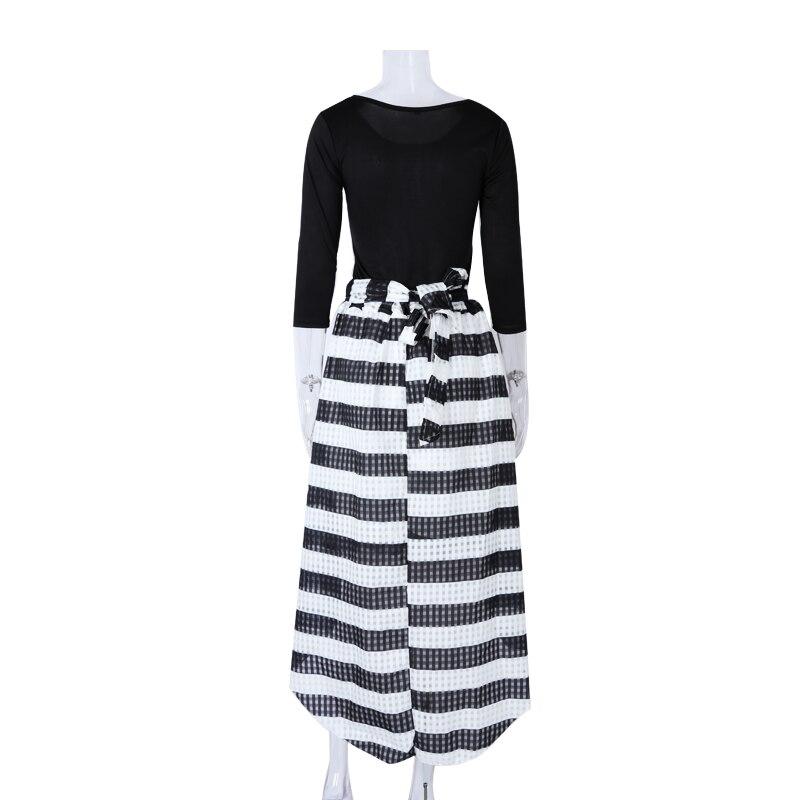 Elegant Two-Piece Long Sleeve Stripe Dress 6