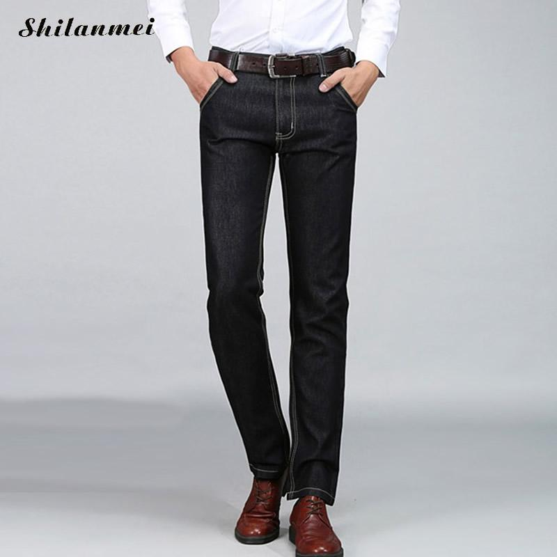 Men Jeans Business Casual Thin Straight Slim Fit Blue Jeans Stretch Denim Pants Trousers Classic Long Pants Lightweight Jeans