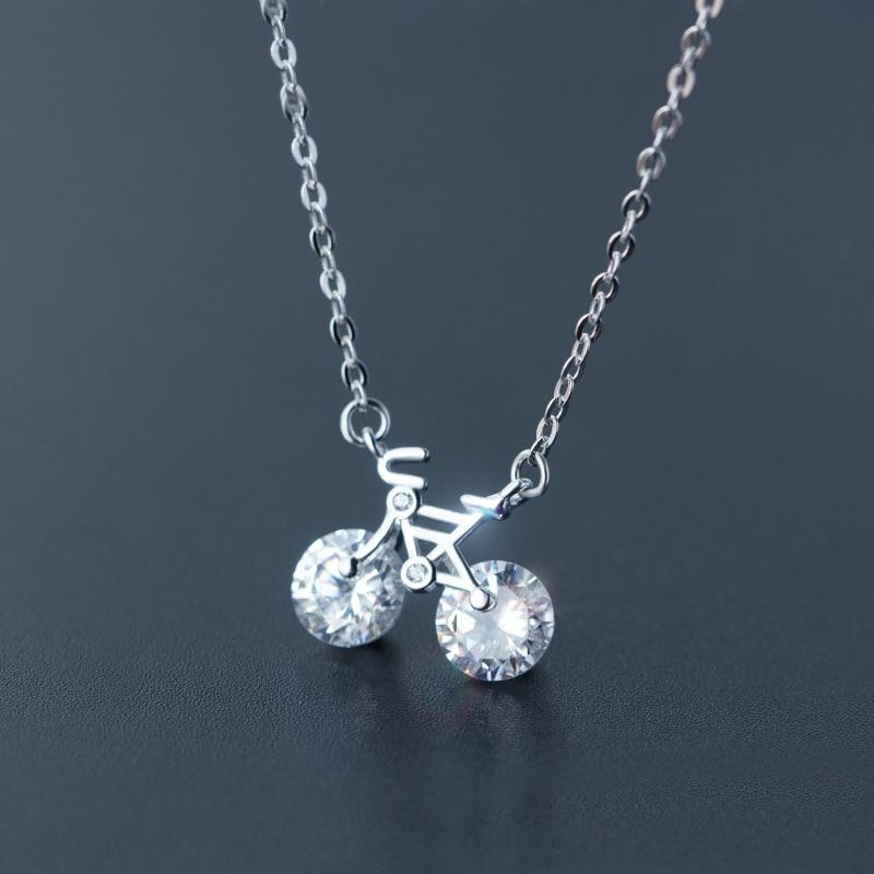 Nemovitý. Cyklo náhrdelník s přívěskem na kolo 925 Sterling Silver s průhledným kolem CZ AAA + řetízek Rolo Sterling-Silver-Jewel TLX468