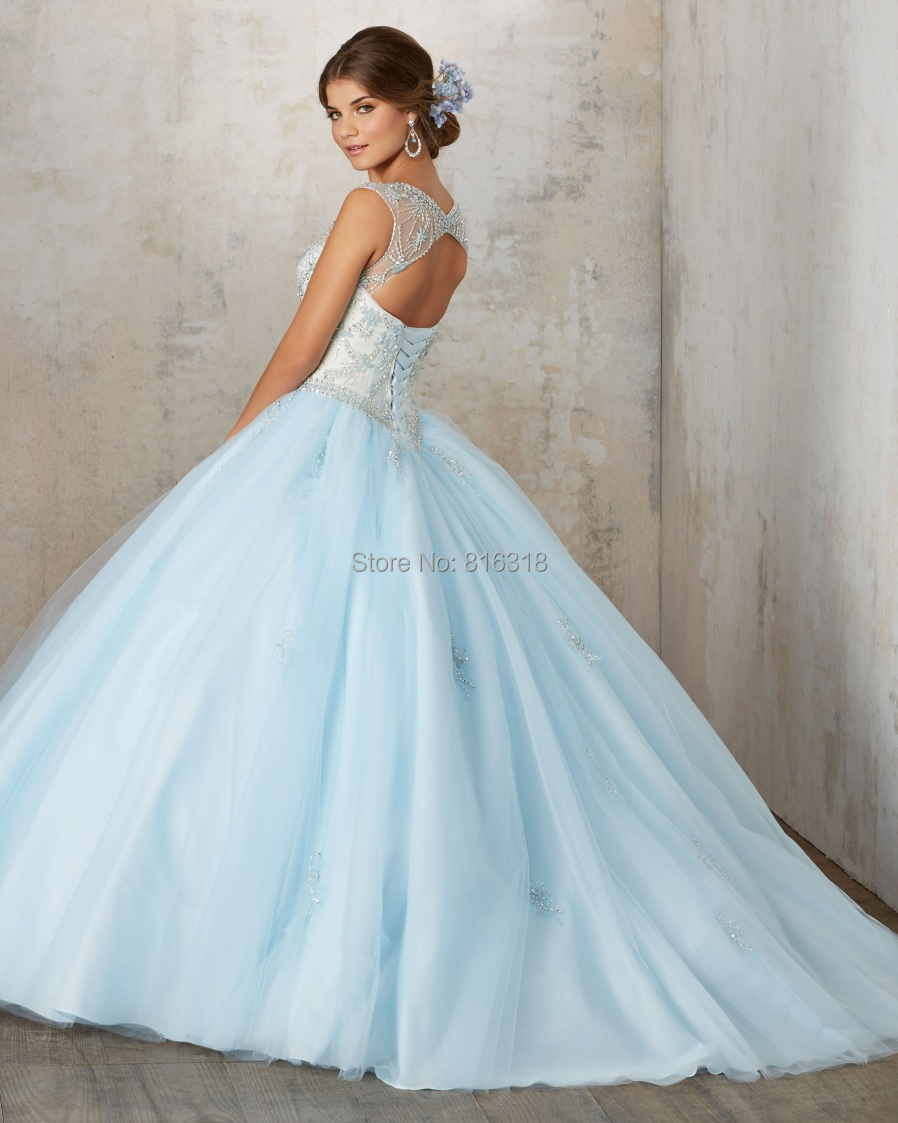 Aliexpress.com: Compre Jewel Baby Blue Plus size Quinceanera Dresses ...