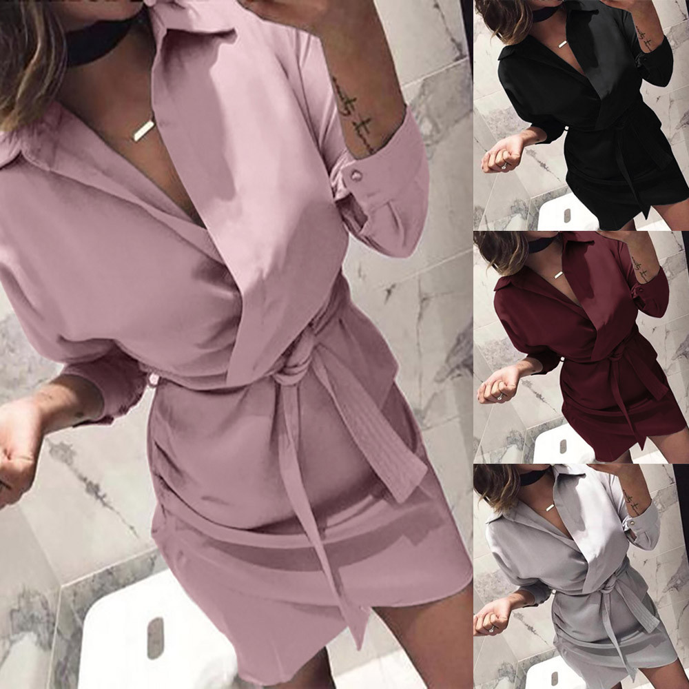Hemd Kleid 2018 Frauen Herbst Sommer Kleid Lange Hülse Drehen-Unten Kragen Hohe Steeet Kleid Blet 4 Farbe Büro kleider