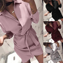 a94e74b7c05b0f2 Платье-рубашка 2018 женское осенне-летнее платье с длинным рукавом с  отложным воротником с
