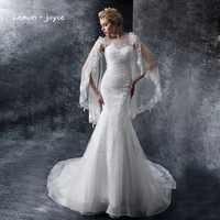Lemon joyce Mermaid Wedding Dresses with Jacket Appliques Embroidery Fashion New Bridal Dress Court Train Wedding Gown