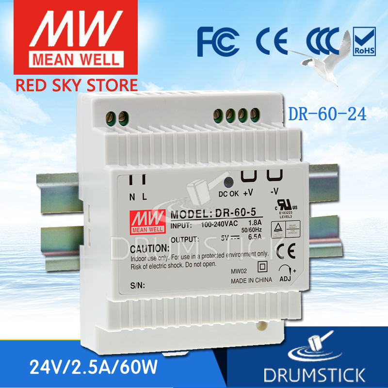 (12.12)MEAN WELL DR-60-24 24V 2.5A meanwell DR-60 60W Single Output Industrial DIN Rail Power Supply [Hot6] [sumger2] mean well original dr 100 15 15v 6 5a meanwell dr 100 15v 97 5w single output industrial din rail power supply