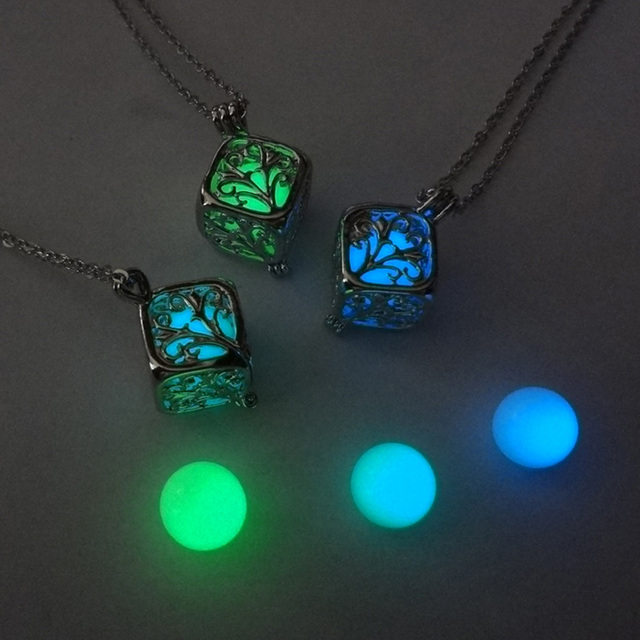 Tree Of Life Dark Luminous Necklaces Silver Color Chain