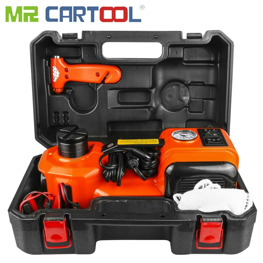 Mr Cartool Car Jacks 3 in 1 Electric Hydraulic Floor Jack Tire Inflator Pump LED Flashlight Safe Hammer Auto Repair Tool