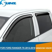 цена на CARBON FIBER window deflectors for Ford Ranger T8 2012-2019 side window visor rain guards for Ford Ranger T6 T7 2012-2019 SUNZ