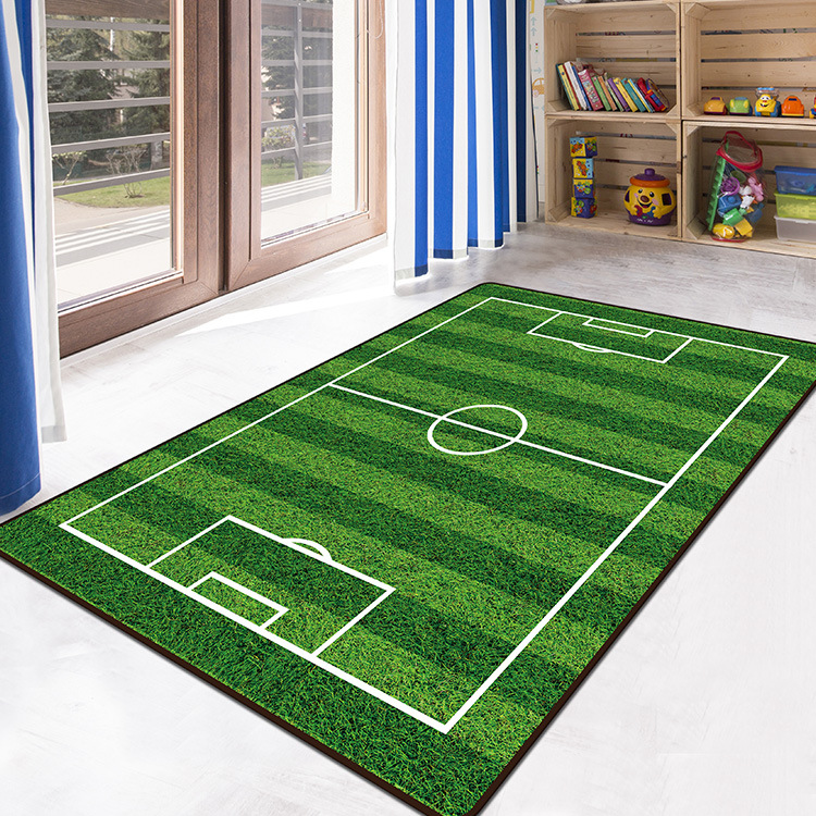 Carpet 3D Football Area Rugs Flannel Rug Memory Foam Carpet Boy Girl Kids Play Crawl Mat Big Carpets For Home Living Room Decor