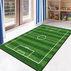 Tapete 3d área de futebol tapetes flanela tapete de espuma memória menino menina crianças jogar esteira crawl grandes tapetes para casa sala estar decoração
