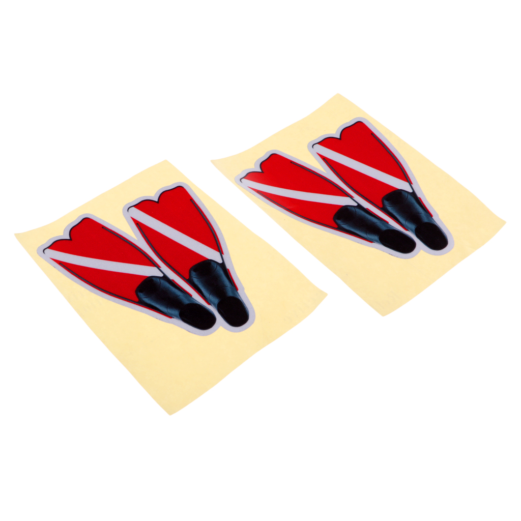 2 Pieces Scuba Diving Dive Flag Fins Sticker Decal For Water Sports Swim Boat Car Truck Window