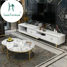 Луи Мода журнальные столики пост современный легкий роскошный Телескопический шкаф для ТВ сочетание круговой мраморной дизайнерской мебели