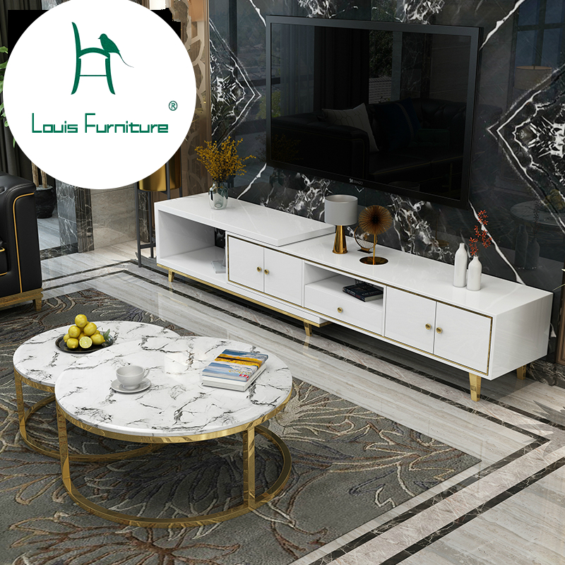 Us 499 0 Louis Fashion Coffee Tables Post Modern Lightweight Luxury Telescopic Tv Cabinet Combination Circular Marble Designer Furniture In
