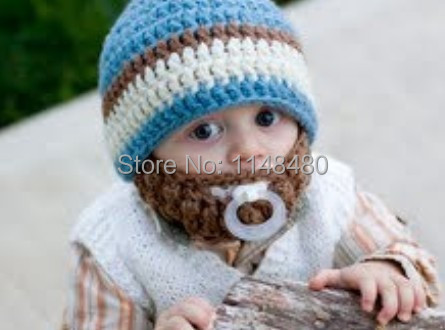 newborn baby hat Baby boy Beard Hat Hand Crochet Newborn blue Beanie with  brown beard everyday outdoor caps Kids and Adult Hats c2962ea67aa