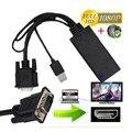 Vga para hdmi conversor de alta qualidade preto/branco 1080 p vga para hdmi Cabo Adaptador Conversor De Áudio E Vídeo USB Laptop PC DVD HD TV