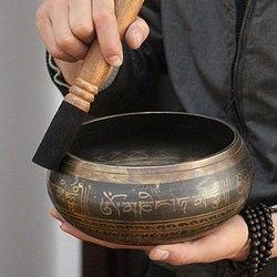 Cuenco tibetano, cuenco de canto decorativo, platos de pared, decoración del hogar, platos de pared decorativos, cuenco de canto tibetano