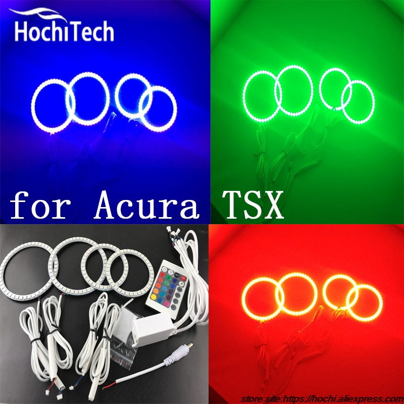 Excellent RGB LED colorshift headlight halo angel demon eyes kit for Acura TSX 2009 2010 2011 2012 2pcs purple blue red green led demon eyes for bixenon projector lens hella5 q5 2 5inch and 3 0inch headlight angel devil demon