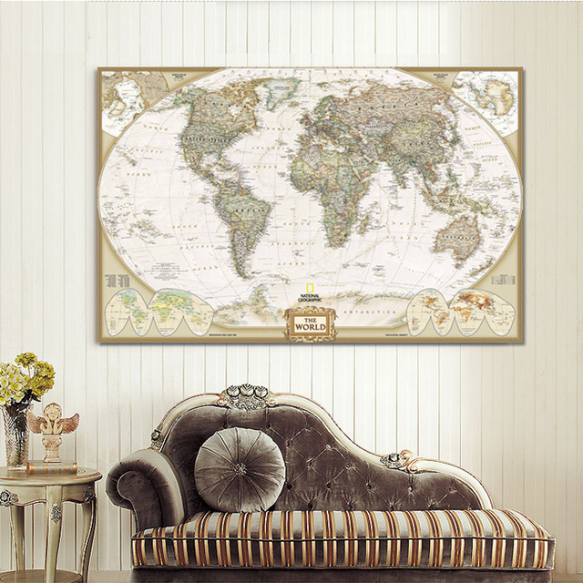 Large Wall Art World Map Painting On Canvas Prints Europe Vintage Picture  For Office Study Office