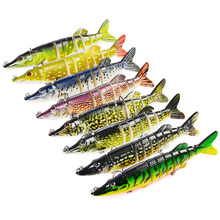 Купить с кэшбэком Lifelike fishing lure bait wobbler arttificial baits crankbait swimbait lures 9 segements pike fishing tackle 20g 12.5cm 8colors